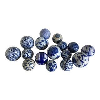 Asian Blue & White Ceramic Decorative Balls - Set of 16
