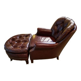 Chesterfield Tufted Burgundy Chair and Ottoman