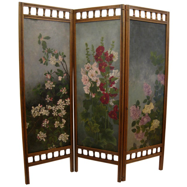 Painted Floral 3-Panel Victorian Screen - Image 1 of 6