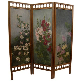 Painted Floral 3-Panel Victorian Screen