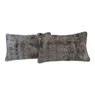 Gray Handmade Overdyed Pillow Covers - Pair