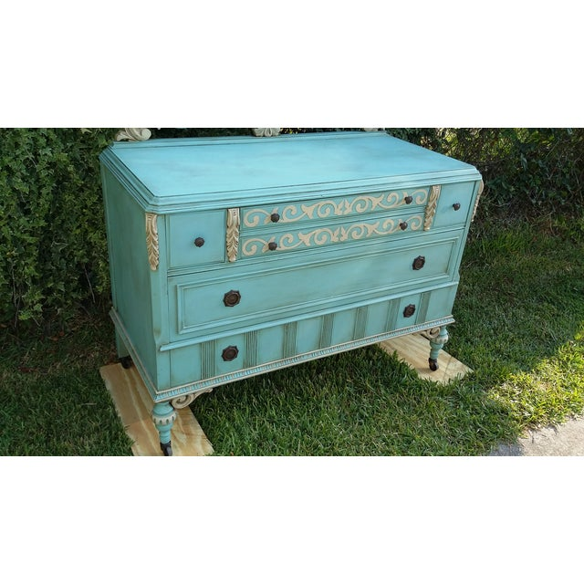 Hand-Painted Depression Era Dresser with Mirror - Image 6 of 10
