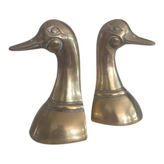 Vintage Leonard Mid-Century Brass Duck Bookends- A Pair