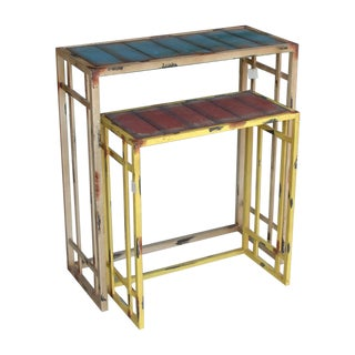 Metal Industrial Style Console Tables - A Pair