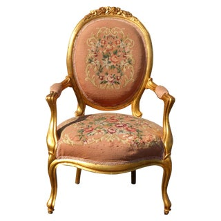 French Rococo Gilt & Pink Tapestry Arm Chair