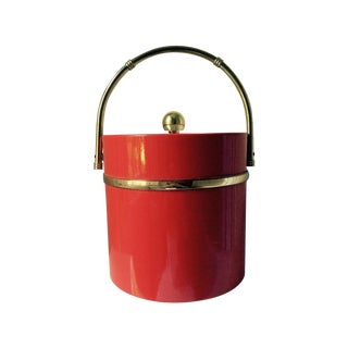 Vintage Red & Gold Ice Bucket