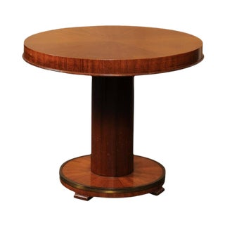 Petite French Mahogany Veneered Cocktail Table with Brass Ring, circa 1950