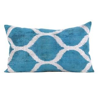Mineral Blue Silk Velvet Accent Pillow