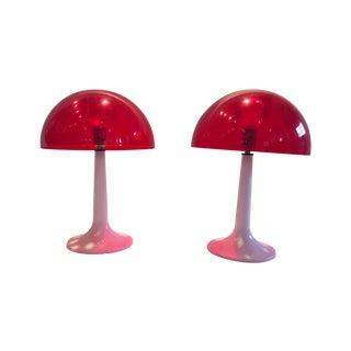 Retro Red Mushroom Lamps - Pair