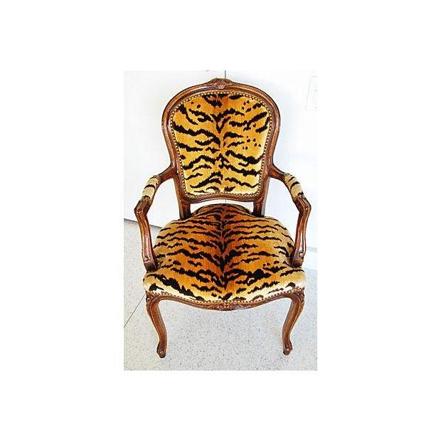 1940s Italian Scalamandre Le Tigre Velvet Armchair - Image 6 of 8