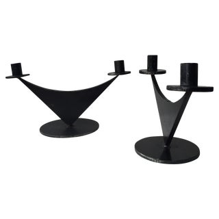 Modern Iron Candlesticks - A Pair