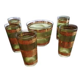 Mid-Century Green Gold Glasses & Ice Bucket - S/6