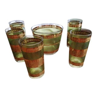 Mid-Century Green Gold Glasses & Ice Bucket - S/6