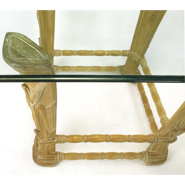 Limed Alder Center Table with Carved Wheat Relief and Glass Top - Image 6 of 10