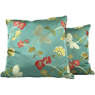 Vintage Brocade Butterfly Pillows - A Pair