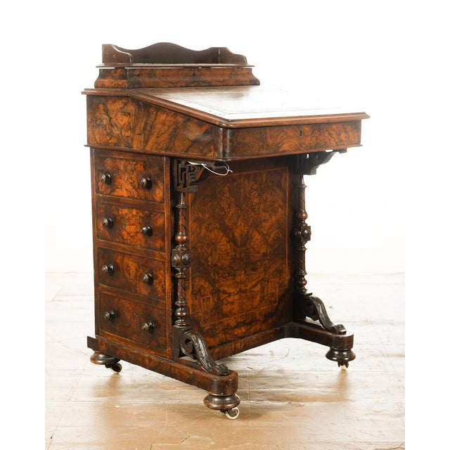 19th C. Burl Walnut Victorian Davenport Desk - Image 3 of 10