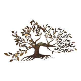 Curtis Jere Style Tree With Leaves Metal Wall Art