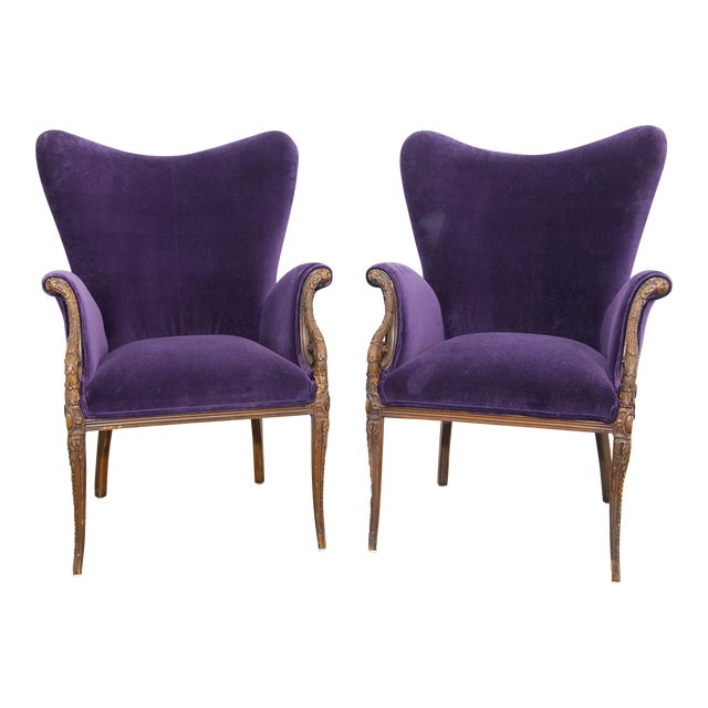 Deep Purple Velvet Armchairs - A Pair   Chairish