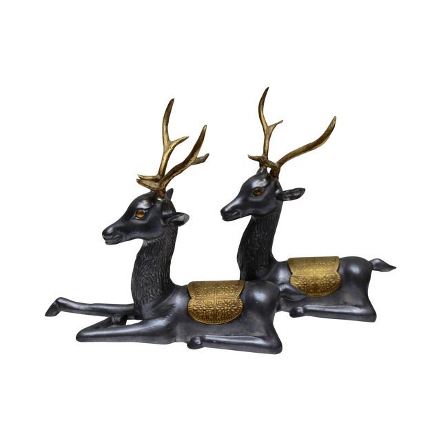 Pewter & Brass Seated Deer - A Pair - Image 1 of 5