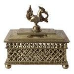 Image of Burmese Brass Betel Nut Box With Hamsa Handle