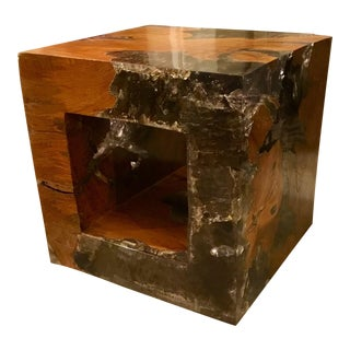 Machans Teak & Resin Cube Table
