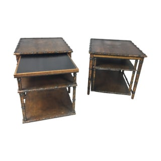 Tortoise Faux Bamboo Nesting Tables - Pair