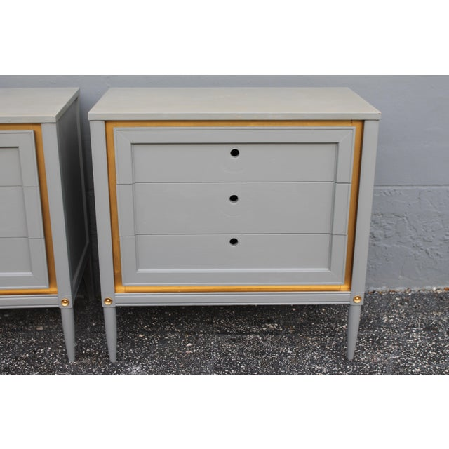 1960s Slate Blue & Gilt Accent Bachelor's Chests - A Pair - Image 7 of 10