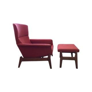 Dux Mid Century Reclining Lounge Chair & Ottoman