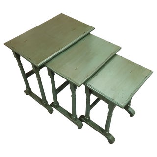 Green Solid Wood Distressed Nesting Tables