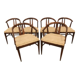 Curved-Back Walnut Dining Chairs - Set of 6