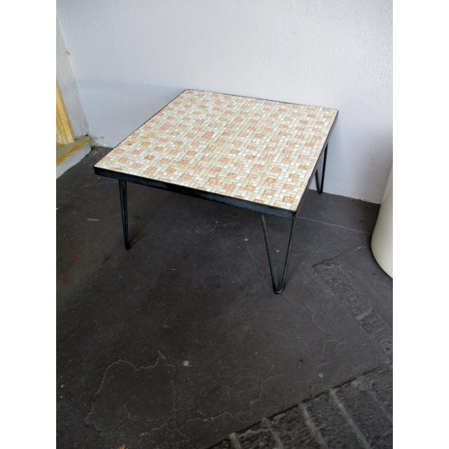 Mosaic Mid-Century Modern Orange And White Coffee Table