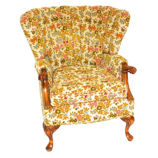 Mid-Century Modern Channel Wing Back Chair