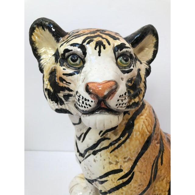 Hand Painted Italian Ceramic Tiger - Image 3 of 9