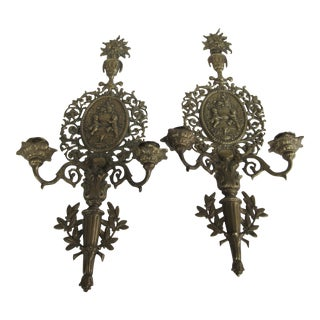 Vintage Rococo Brass Candle Sconces- A Pair
