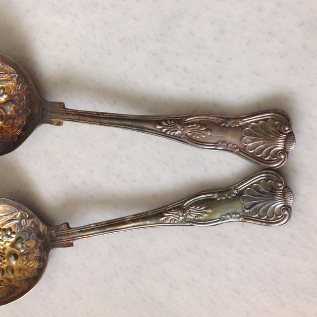 English Silver Plated Berry Servings Spoons - Pair - Image 8 of 9