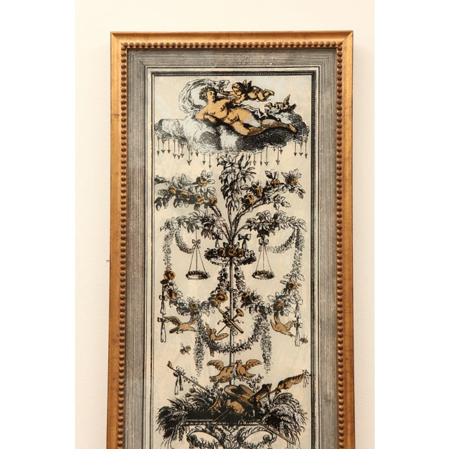 Image of Vintage Reverse Painted French Panel