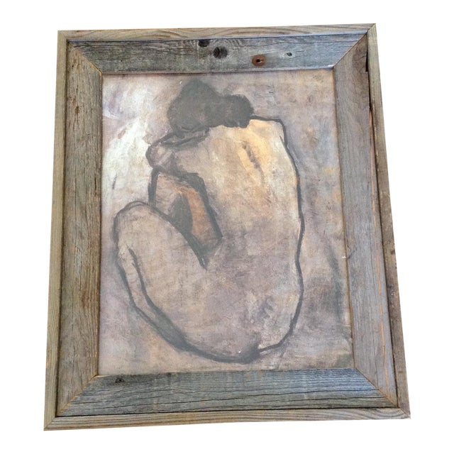 Rustic Wood Framed Picasso Nude Print - Image 1 of 6