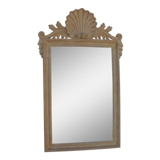 Italian Hand Carved Wood Shell Wall Mirror