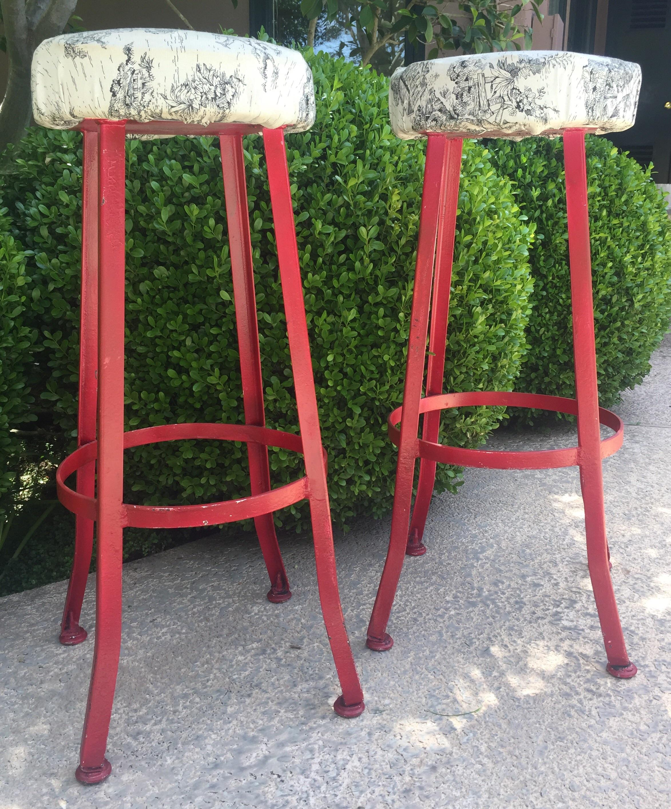 Vintage Red Bar Stools A Pair Chairish