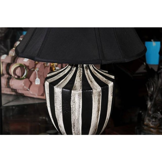 Black & White Striped Lamps - A Pair - Image 4 of 5