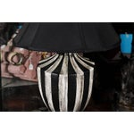 Image of Black & White Striped Lamps - A Pair