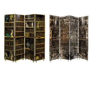 Early Piero Fornasetti Four Panel Folding Screen with La Citta Riflettente to one side and Libreria on reverse, Circa 1950s.
