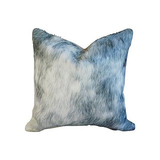 Smokey Gray Hair on Hide Cowhide & Linen Pillow