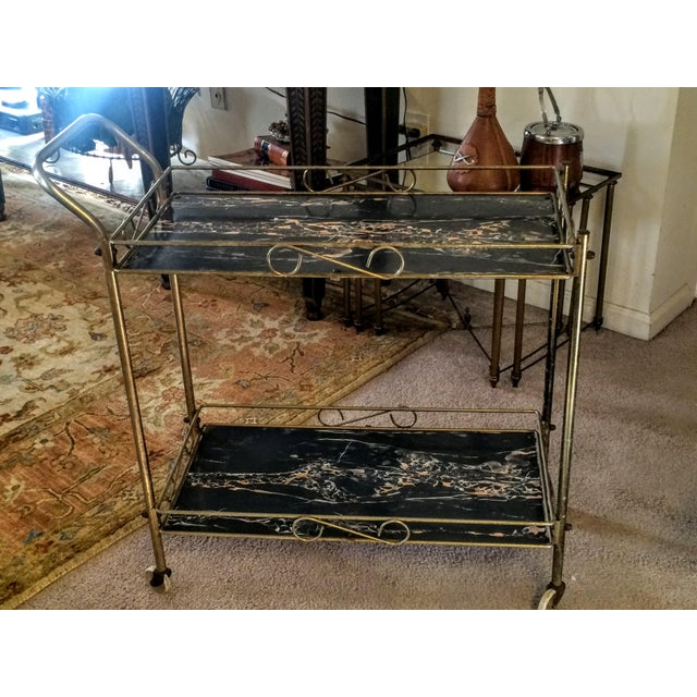 Mid-Century Modern Brass & Marble Rolling Bar Cart - Image 2 of 11
