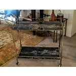 Image of Mid-Century Modern Brass & Marble Rolling Bar Cart