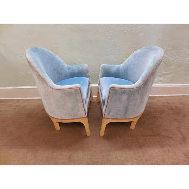 Image of Vintage Oversized Barrel Back Club Chairs - Pair