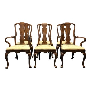 Henredon Walnut Queen Anne Dining Chairs - Set of 6