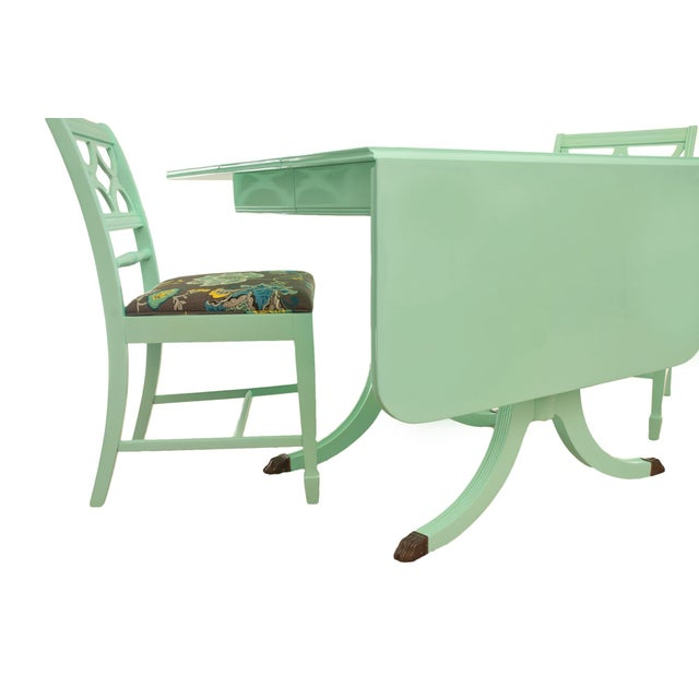 Duncan Phyfe Mint Green Table 4 Chairs Chairish