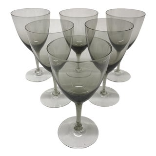 Smoke Grey German Crystal Cordial Glasses - Set of 6