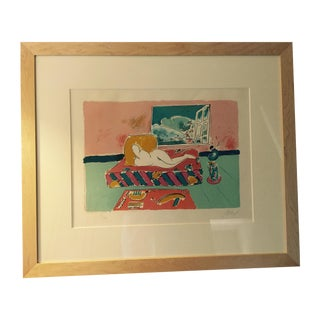 "Framed Peter Max Lithograph ""By the Window"""